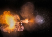 Bullet Photography...PIC BY HERRA KUULAPAA / CATERS NEWS - (PICTURED: A bullet being fired from a gun) - These incredible photos capture the awe-inspiring, split-second moment a bullet leaves the barrel of a gun. The shots capture a wide range of firearms, focusing on the moment of action when the bullet begins spinning through the air. High speed ballistics photographer, Herra Kuulapaa has created a series of incredible photos of guns firing bullets in amazing pin sharp pictures.