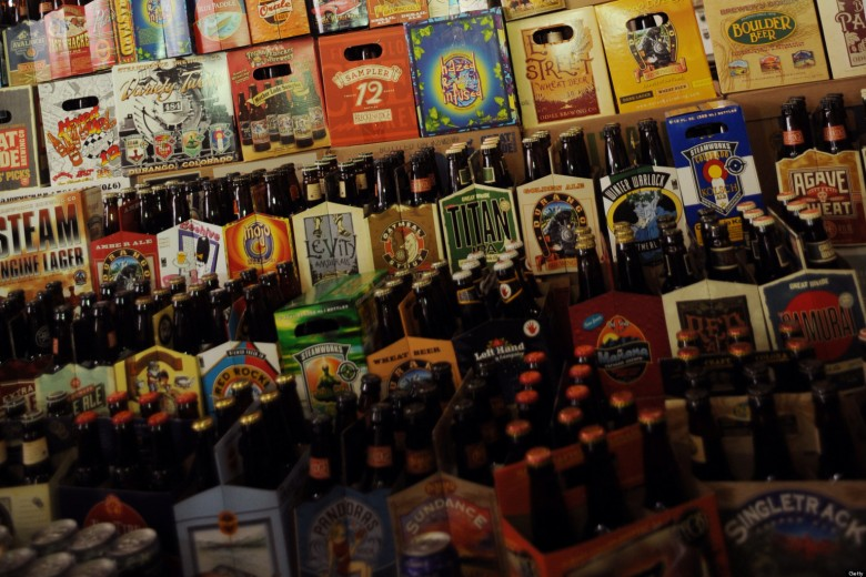 (JS)cd19pcoBEER-- All different kinds of beers from Colorado Brewery are set at Great Divide Brewery in Denver on Wednesday. 15 brewers gathered at the local brewery to express opposition for a bill to allow grocery stores to sell full strength beer. The