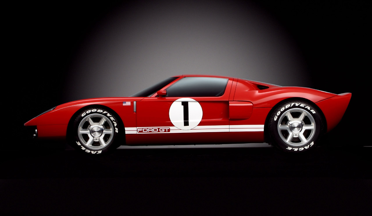 Ford Gt Concept Red White Sideview  Jpg